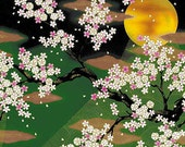 FULL MOON & Cherry Blossoms: Green (Panel 24 Inches x 22 Inches)