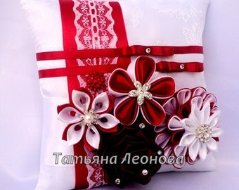 "Ring Pillows ""Spain"" Red and White"