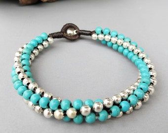 Twisted Bracelet - Macrame Turquoise Bead Bracelet with Silver Color  Bead Summer 2014