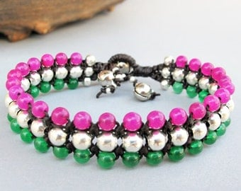 Gren Jade and Pink Quartz Beaded Woven Bracelet with Silver Color Bead