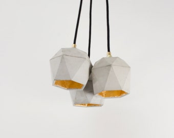 Concrete lamp bundle [T2] lamp set gold triangulated
