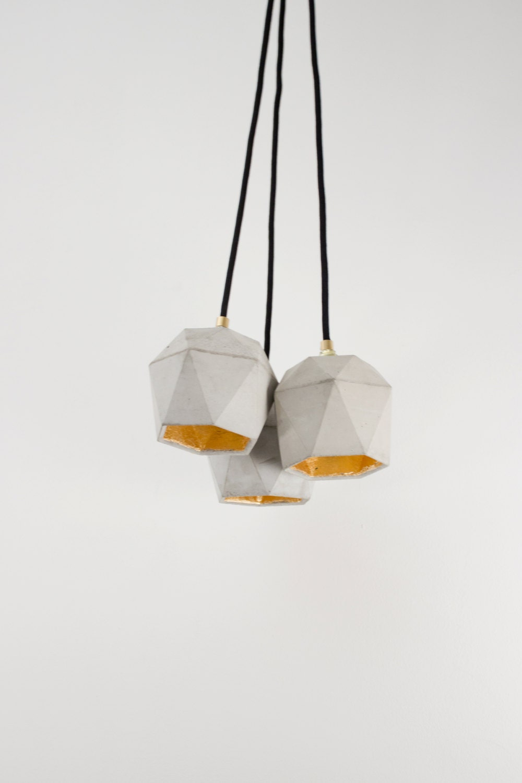concrete lamp bundle t2 lamp set gold triangulated. Black Bedroom Furniture Sets. Home Design Ideas