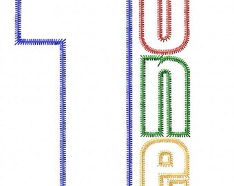 Modern Birthday Numbers ONE and TWO Machine Embroidery Design