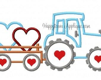 Valentine Tractor Machine Embroidery Design