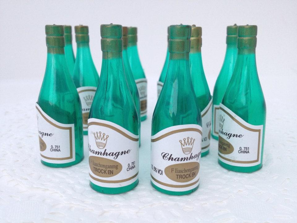 24 miniature plastic champagne bottles wedding for Empty mini plastic wine bottles
