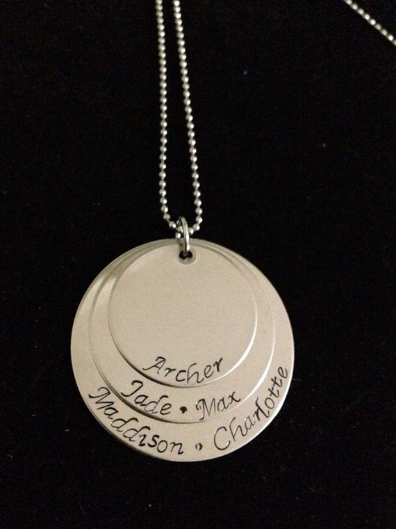 Hand stamped Personalized Stainless Steel Necklace, With three different size disc's