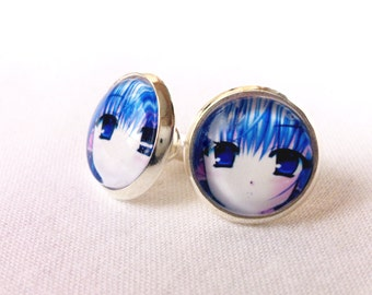 Stainless Steel Manga Stud Earrings12 mm  / Blue Hair Girl / Exclusive for Manga Lovers