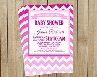 Pink Ombré Chevron Baby Shower Invitation, Custom Digital File, Printable