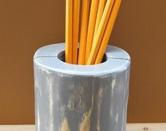 Rustic Pencil Holder - Cedar Pencil Holder - Gray Slate Finish - Desk Accessory - Wood Pen or Pencil Holder - Log Pen or Pencil Holder