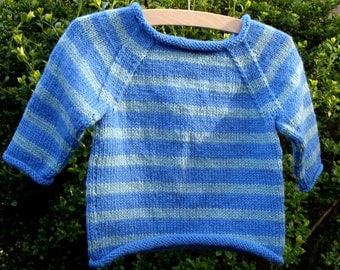 Stripy Baby Jumper Pattern (ages 6, 9 & 12 months)