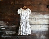 70s polka dot princess dress - blossomvintageshop