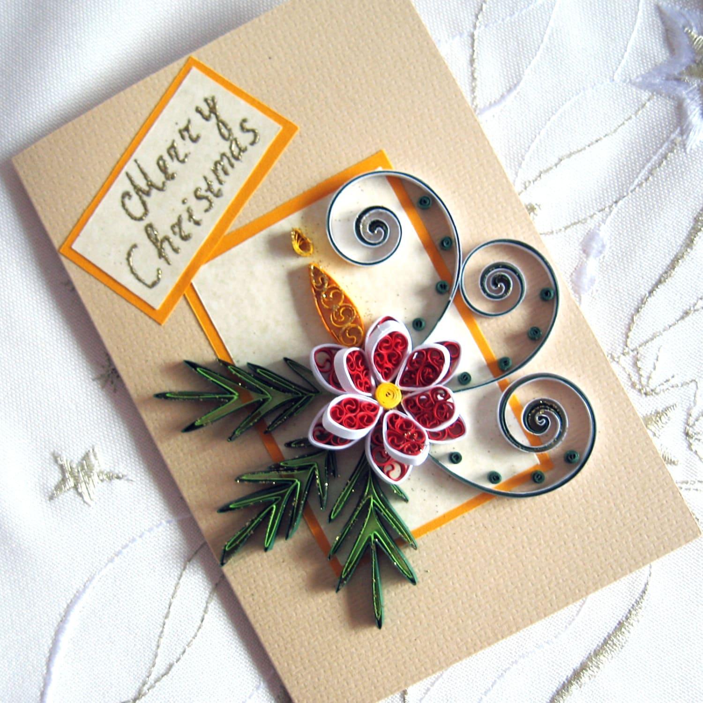 merry christmas card handmade quilled christmas flower