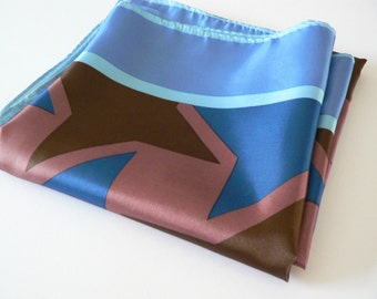 Vintage  1990's scarf, Blue scarf, Pink scarf, Summer scarf, Spring scarf, Start patterned scarf