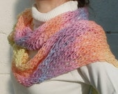 Super Soft Sunshine Scarf Rainbow Shades handknitted lace-like pattern shawl