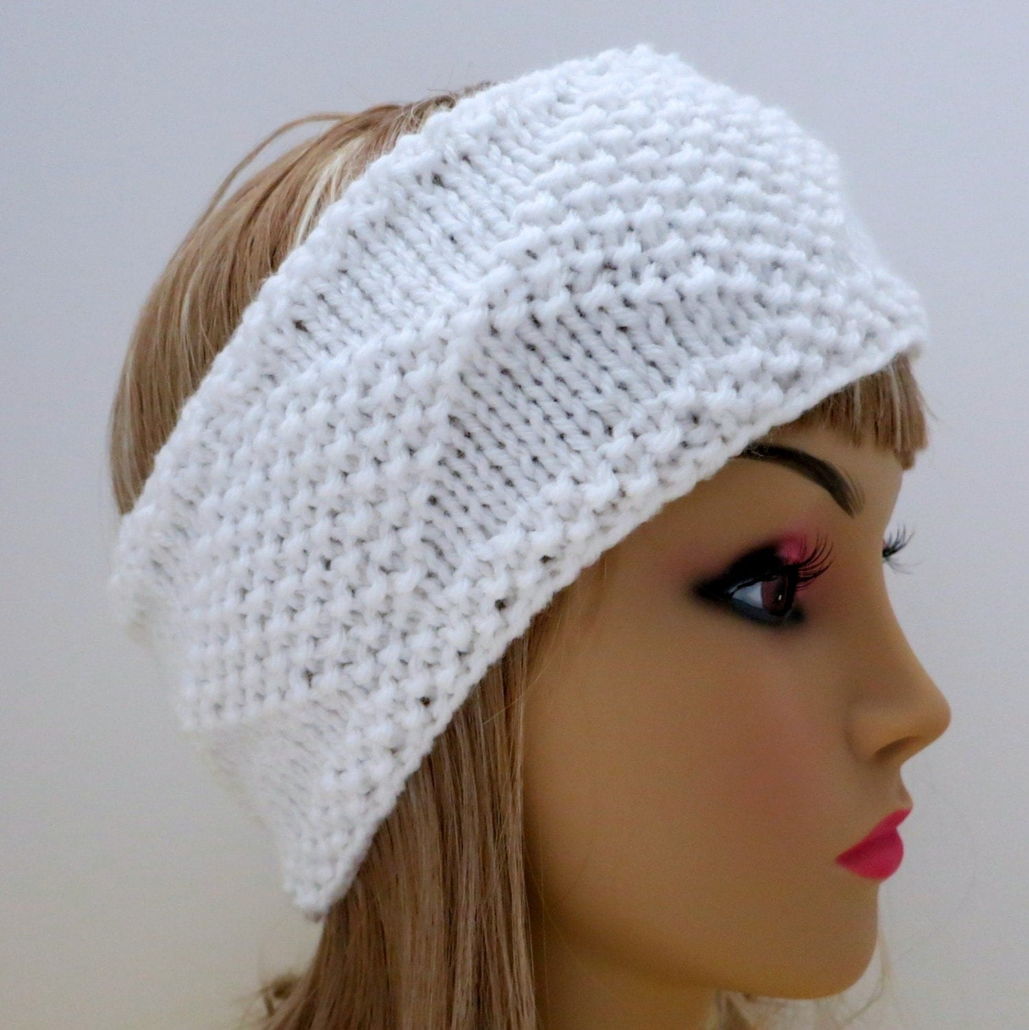 Knitted Baby Headband Pattern Easy : PDF 129 Pattern Headband Knit Diamonds Knitting Pattern PDF