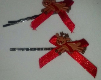 Red Ribbon with Reindeer set of 2