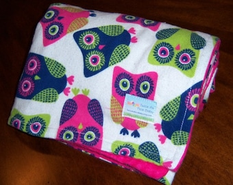 Owl Flannel Receiving Baby Blanket - 36 x 36 - READY TO SHIP - Oversized Receiving Blanket - Double Layer Flannel Blankie