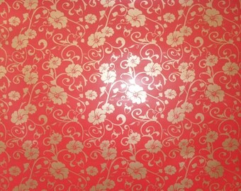 2 DOLLAR SALE Christmas gold floral on red self adhesive vinyl backing paper for cardmaking/craft/scrapbooking