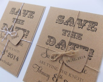 Rustic Save The Date, Wedding Invitation, Kraft Card tied with twine and heart tag