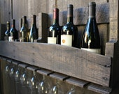 Reclaimed Wood Wine Rack and Glass Holder / Rustic Furnishings Decor / Upcycled Pallet Wine Racks in Blue Wash - BlakeWaresDesigns
