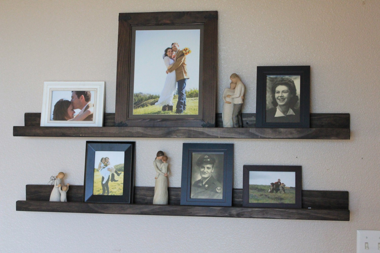 Reclaimed Wood Rustic Shelf Photo Ledge Espresso Brown Stain