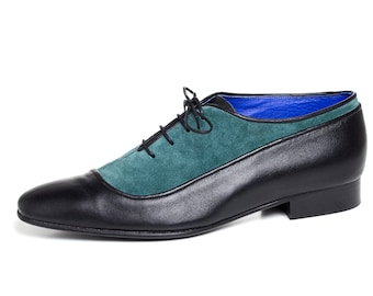 Mens Oxford Shoes - Flat Shoes - Mens Leather Shoes - Mens Shoes - Mens  leather black shoes green suede oxford dress Shoes