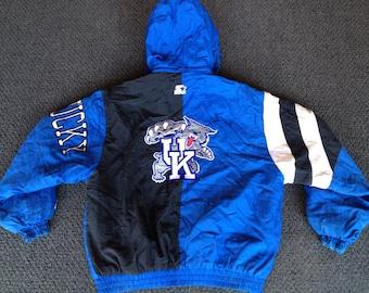 Vintage Mens Kentucky Wildcats Basketball Starter Hoodie Puffy Winter Jacket Coat Size M