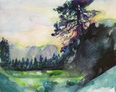 Custom Landscape Watercolor Painting A4 (8.27 x 11.18 in)