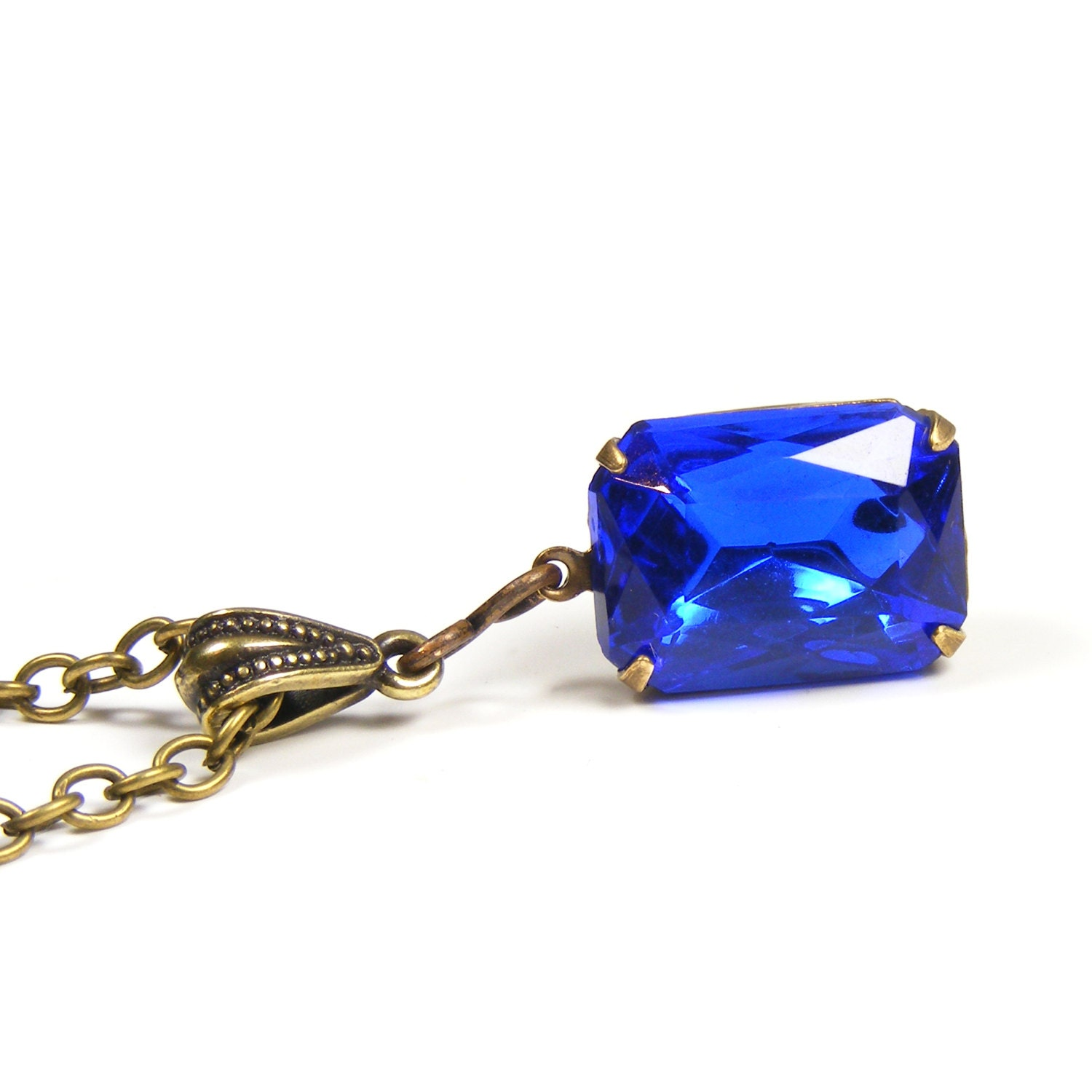 Sapphire Jewel Pendant, Vintage Swarovski Crystal, Vintage Inspired Old Hollywood Estate Style Pendant, Sapphire Blue