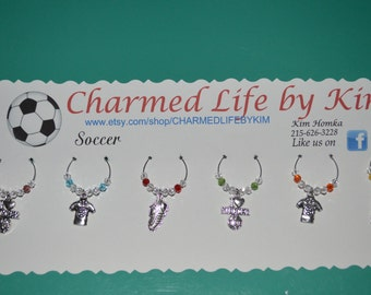 6 pack SOCCER hand made wine glass charms with Swarovski crystals