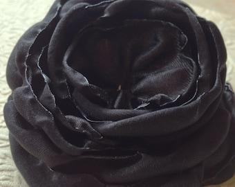 Black satin flower, satin flower,  embellishment, supply, singed flower, black  flower