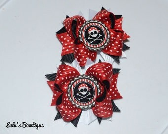 Pirate pigtail bows, pirate bows