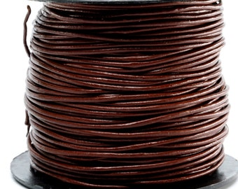 1 Yard // 3 Feet of 1.5MM Chocolate Brown Round Leather Cord