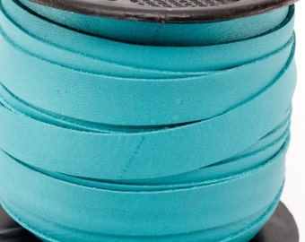 1 Yard (3 feet) of 10MM Turquoise Flat Genuine Italian Leather Lace Cord