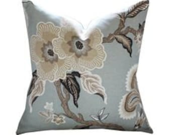 Hot House Flowers in Mineral - One Pillow
