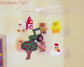 Baby Mobile - Farm Animal Mobile - Duck Chicken Sheep Pig Cow Horse Barn Apple Tree Tractor