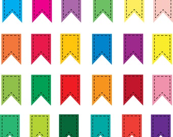 24 Digital Stitched Scrapbooking Flags, Clipart tags, Printable