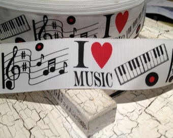 """1.5"""" I Love Music Themed Grosgrain Ribbon sold by the yard"""
