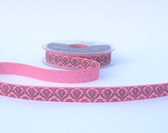 15mm Pink Baroque Print Ribbon