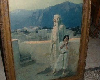 "Lithograph Middle Eastern Print 1906 W.L.Taylor LIthograph ""Eyes Unto the Hills"" Attic Find Middle East Art"