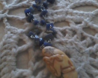 Vintage Lapis And Carved Bone Pendant Necklace