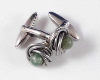 Moss Agate Stainless Steel Cufflinks