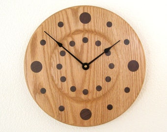 Handcrafted Oak Wall Clock with Walnut Numbers