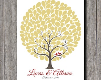 Wedding Guest Tree With 145 Signature Shapes - 16x20 - Wedding Tree - Wedding Guest Book Alternative
