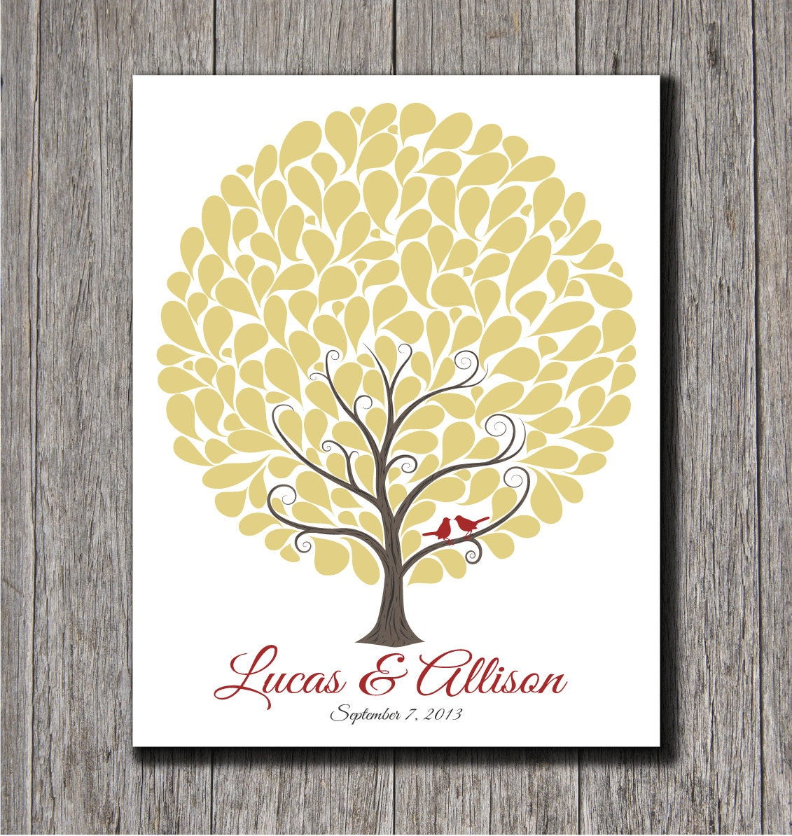 Wedding Guest Signing Tree: Wedding Guest Tree With 145 Signature Shapes 16x20 Wedding