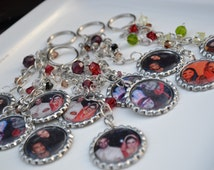 Personalized & Custom Made Bottle Cap Picture Keychains/ Eco Friendly/ Beaded/ Wedding Favors/ Party Favors