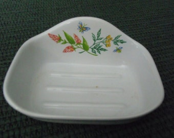 soap dish, vintage, hand painted, floral design, perfect for any bathroom.