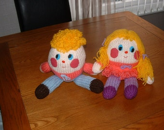 Hand knitted 'Humpty Dumpty' style twins