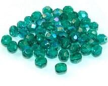 40-6mm Dark Aqua Marine AB Faceted Round Czech Glass Beads - 40 count