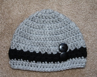 Crochet Beanie with 2 buttons on front. Handmade to order